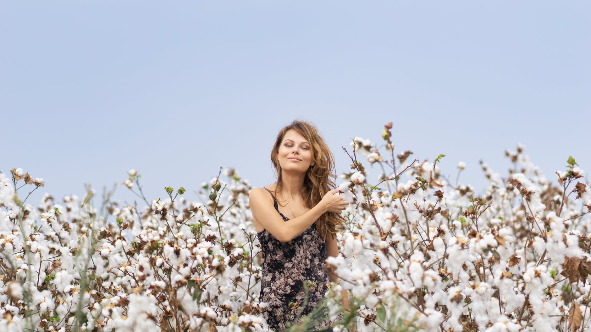 photo of a woman surrounded by white flowers