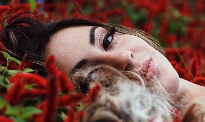 a woman oração her caminho infinito bed of red flowers with green leaves